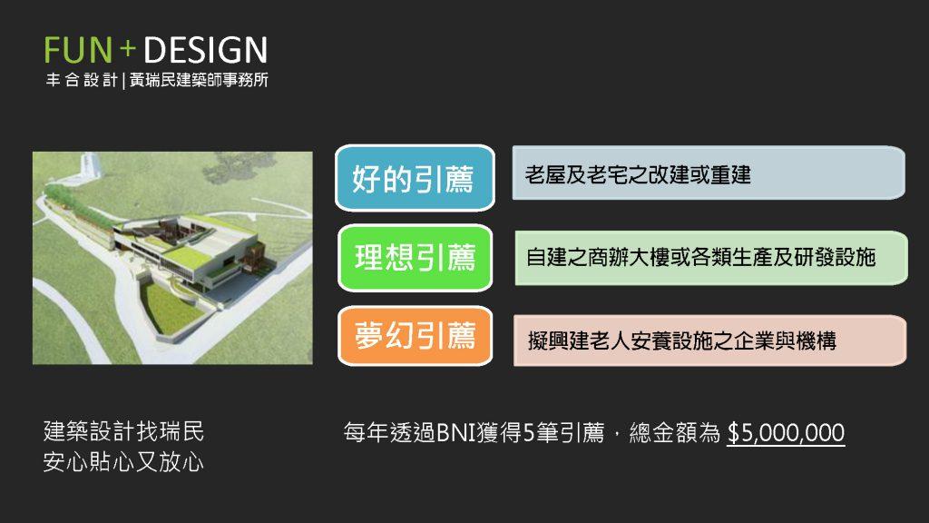 BNI菁讚分會黃瑞民建築師事務所三種引薦